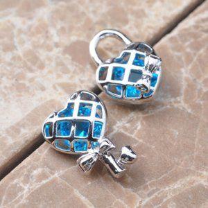 Blue Topaz Lock & Key Stud Earrings